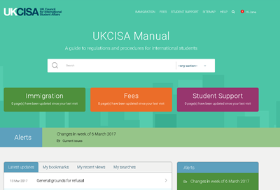 Members: log in to your new manual to access up to date rules and regulations for international students